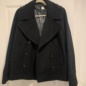 J Crew Black Short Peacoat